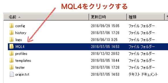 データフォルダ内の「MQL4」をクリックする
